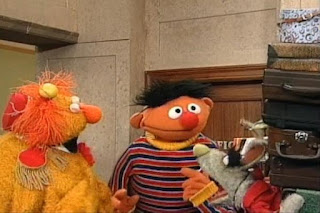The Dinger ding 14 times. Benny appears carrying 14 suitcases on his back and gets angry at Ernie for this. Sesame Street 123 Count with Me