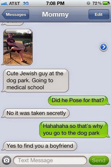 Text from mom looking for future son-in-law at the dog park marchmatron.com