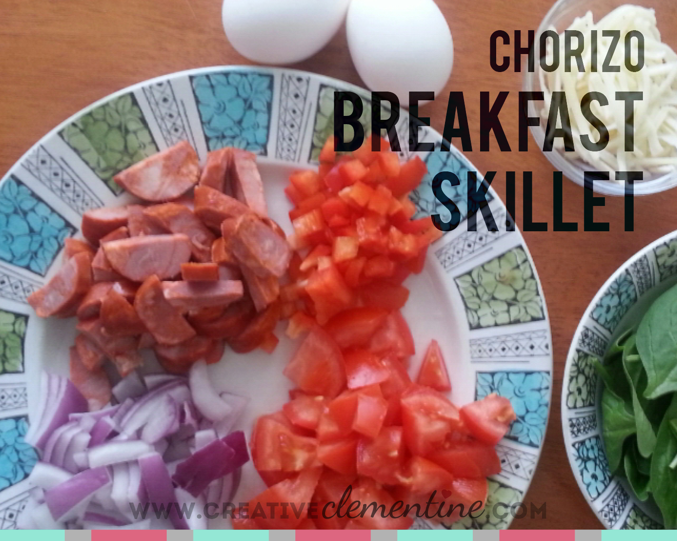 Easy delicious Chorizo breakfast skillet recipe via creativeclementine.com