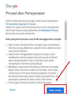 Setujui semua Kebijakan dan Privasi gmail