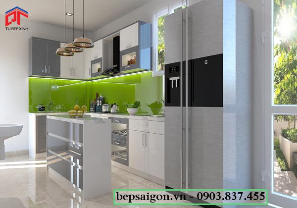 tu bep, tủ bếp hiện đại, tủ bếp chữ L, tủ bếp acrylic