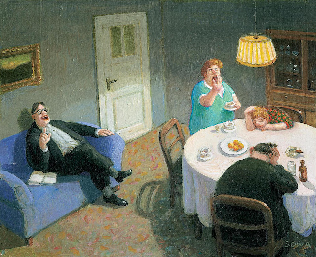 Michael Sowa, a man overstaying his welcome after dinner