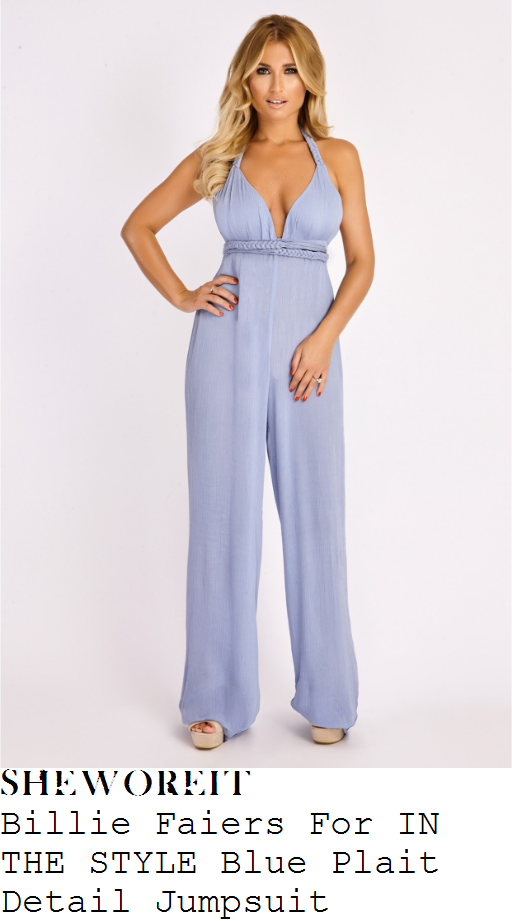 billie-faiers-billie-faiers-for-in-the-style-pale-cornflower-blue-halterneck-plunge-front-braid-plait-strap-detail-open-back-high-waisted-textured-wide-leg-jumpsuit