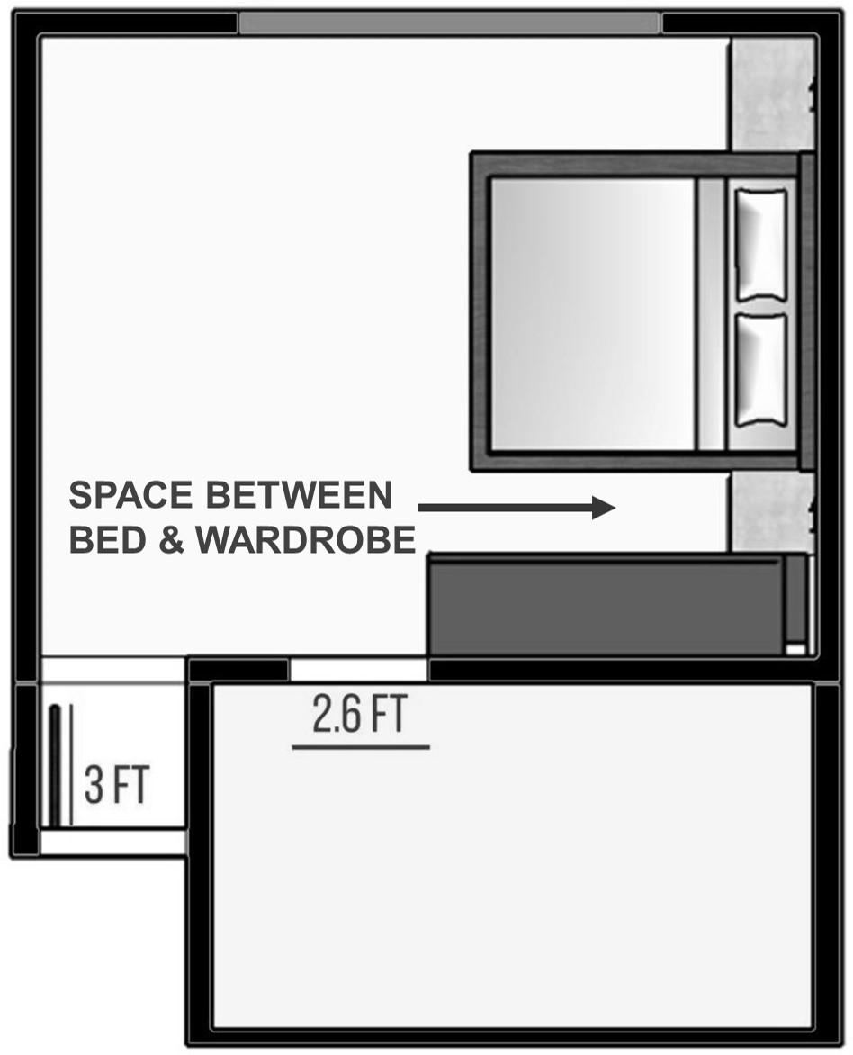 space between bed & wardrobe