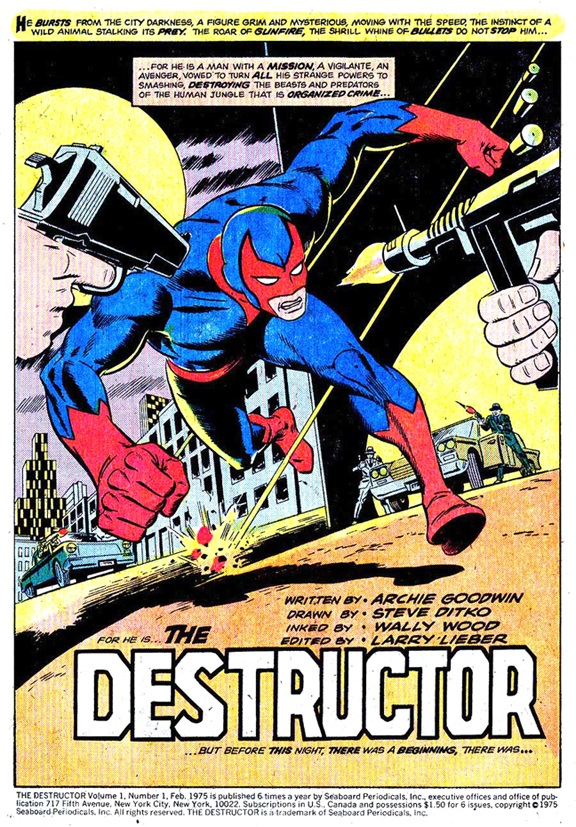 PRIMERA PÁGINA DE THE DESTRUCTOR #1, DIBUJADO POR STEVE DITKO Y WALLY WOOD Y CON GUION DE ARCHIE GOODWIN