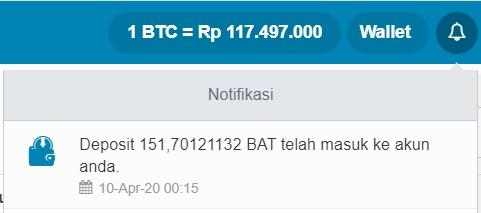 Melakukan Withdraw Token BAT dari Uphold