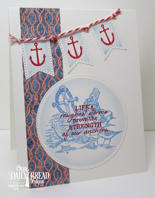 ODBD Anchor the Soul, ODBD Nautical Paper Collection, ODBD Custom Large Banners Dies, ODBD Custom Pierced Circles Dies, Card Designer Angie Crockett