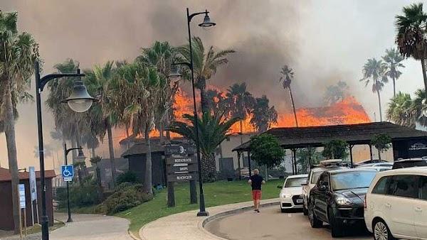 vídeos del grave incendio en Estepona, Málaga