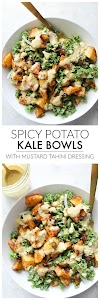 SPICY POTATO KALE BOWLS WITH MUSTARD TAHINI DRESSING