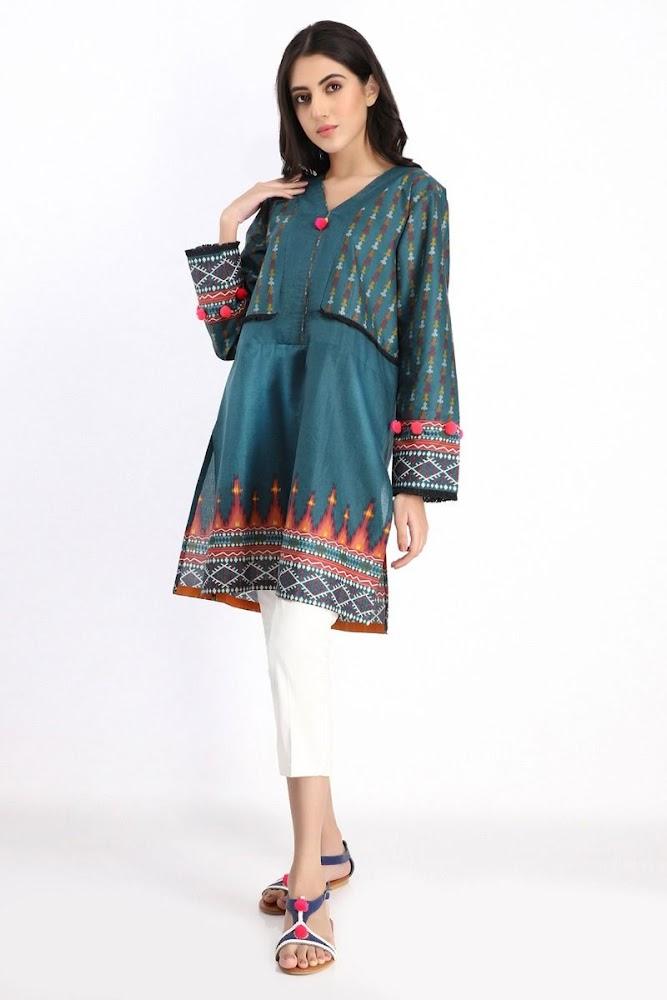 khaadi green printed kurta