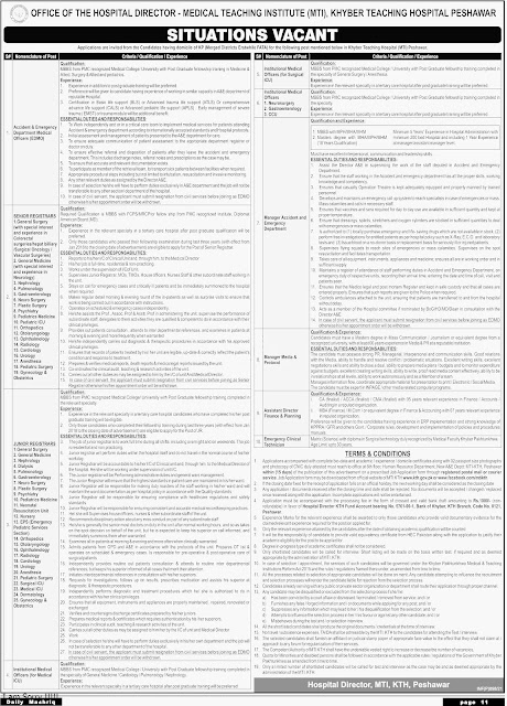 Khyber Teaching Hospital KTH Peshawar Jobs in Pakistan 21/02/2021 Latest