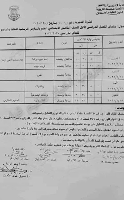 جدول امتحانات نصف العام 2021 محافظة قنا.. الابتدائي و الإعدادي