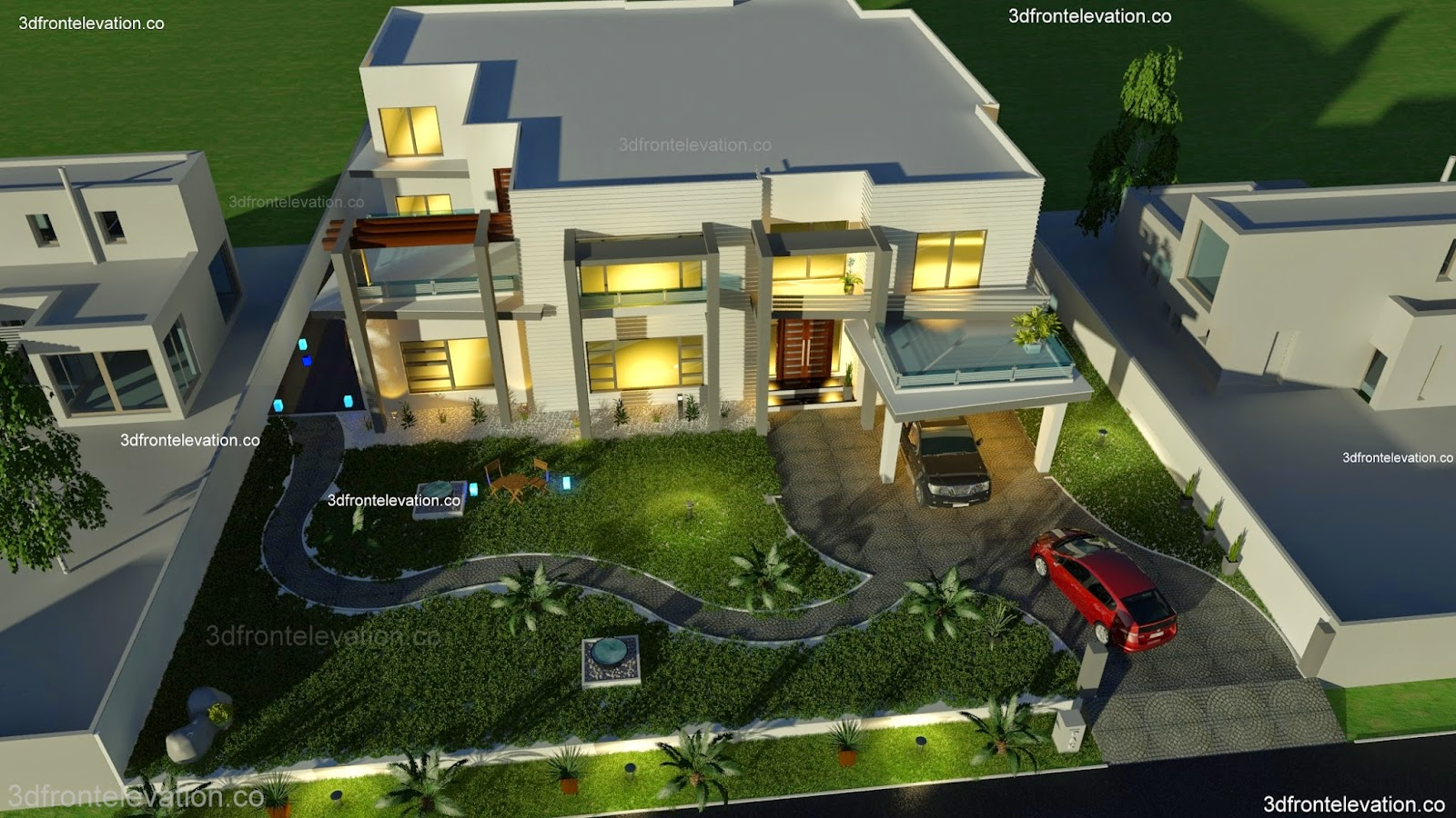 2000 Sq Yard House Plan 3d Front Elevation In Dha Phase 5