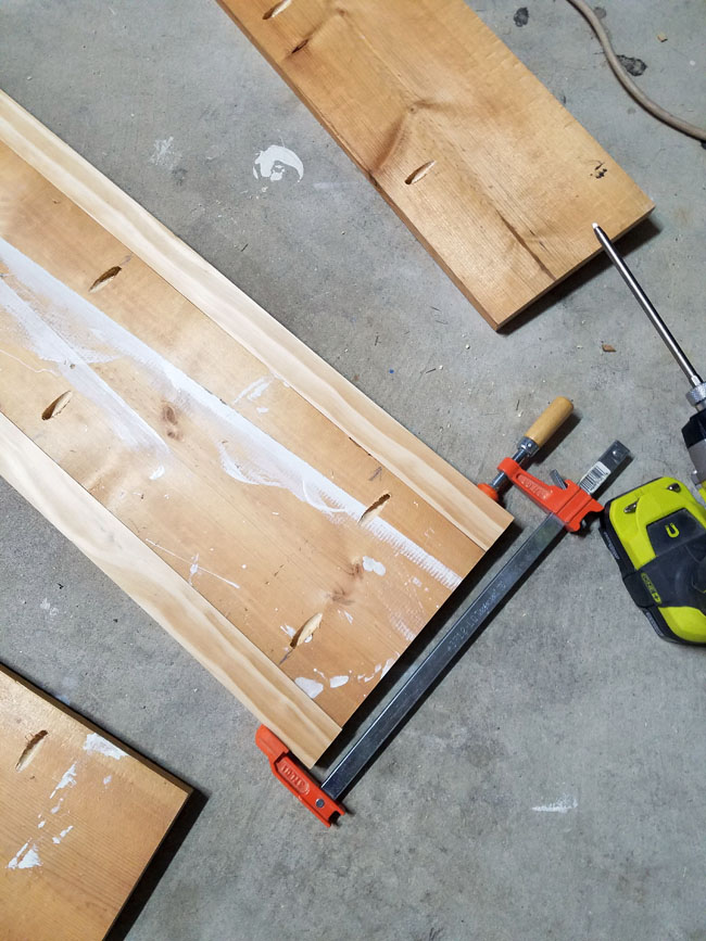 ryobi drill and clamps for coffee table top