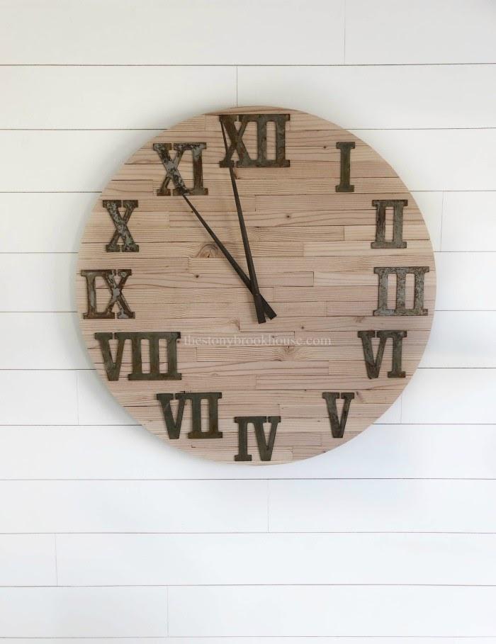 Skinny Shiplap Wall Clock Closeup