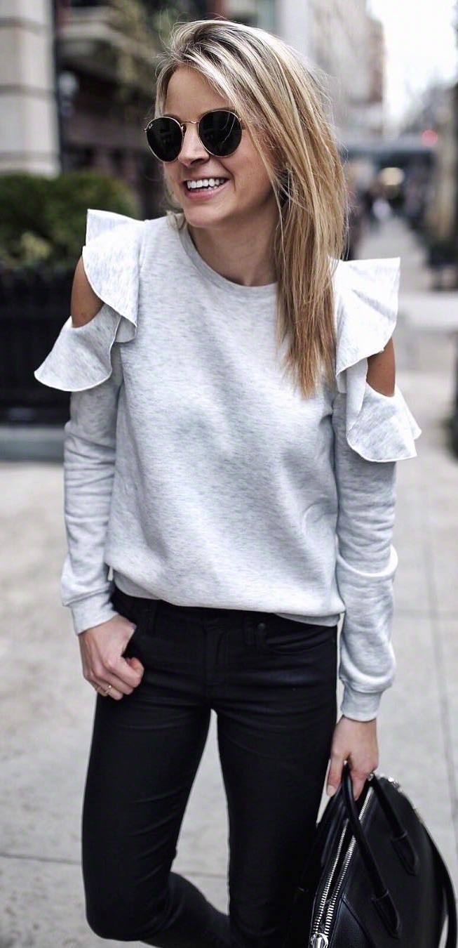 black and white trend / top + skinnies + bag