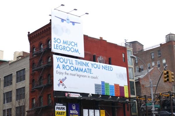 JetBlue legroom need roommate billboards