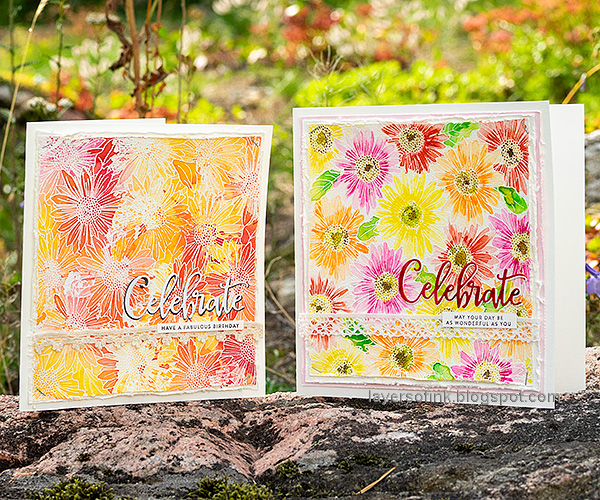 Layers of ink - Gerbera Daisy Watercolor Cards by Anna-Karin Evaldsson.