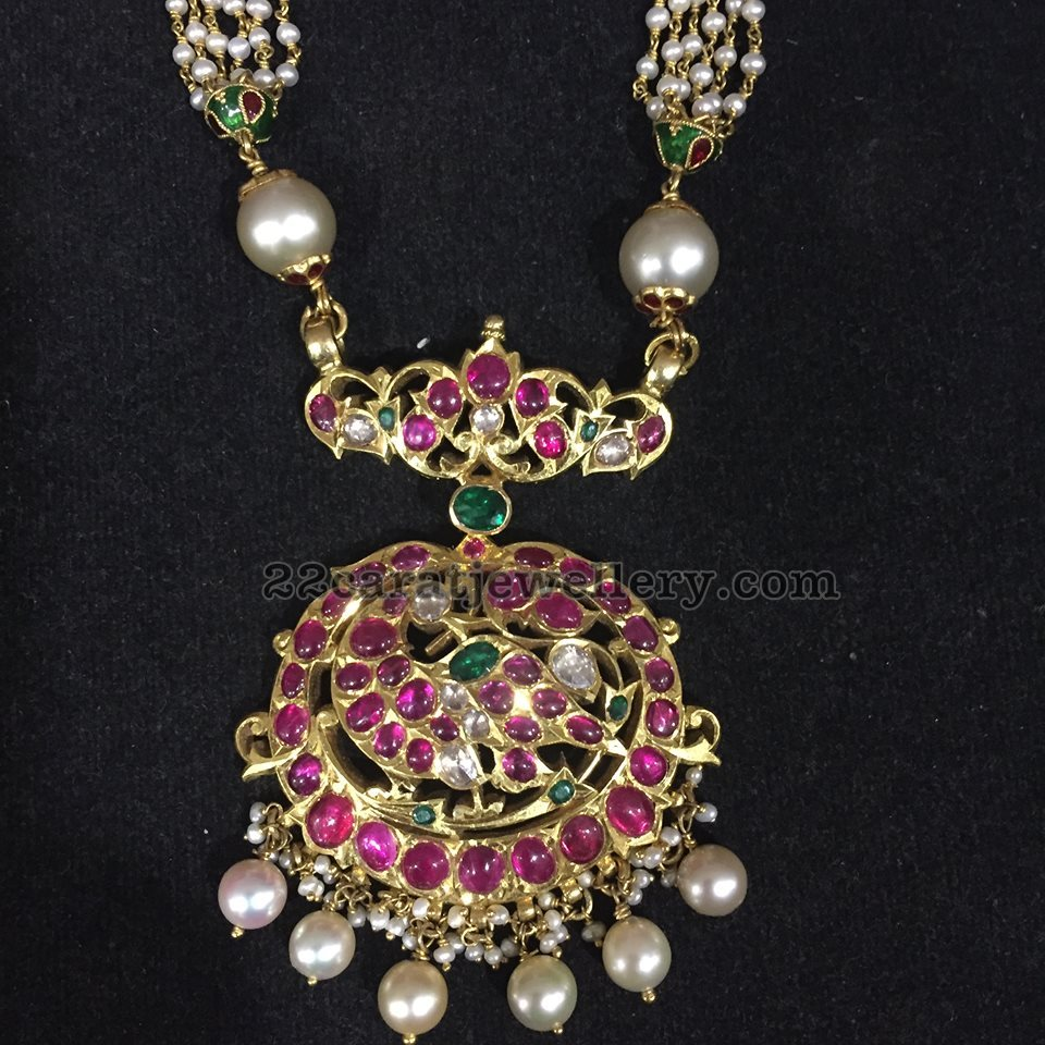 Fabulous Ruby Peacock Pendant with Pearls Chain - Jewellery Designs RO02