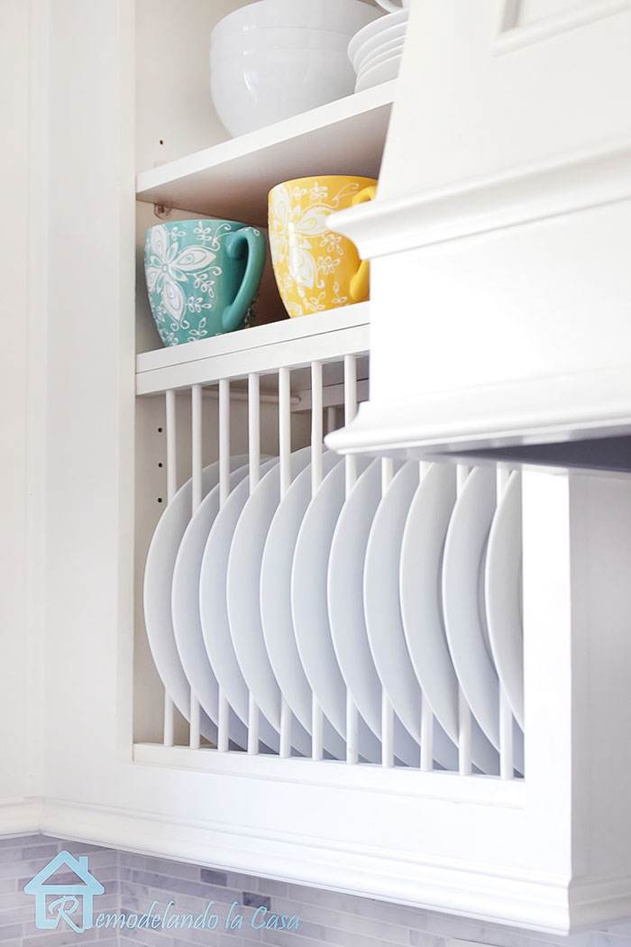 how to build and install a plate rack inside a cabinet