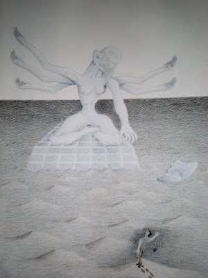 A colored-pencil drawing of a six-armed goddess statue.