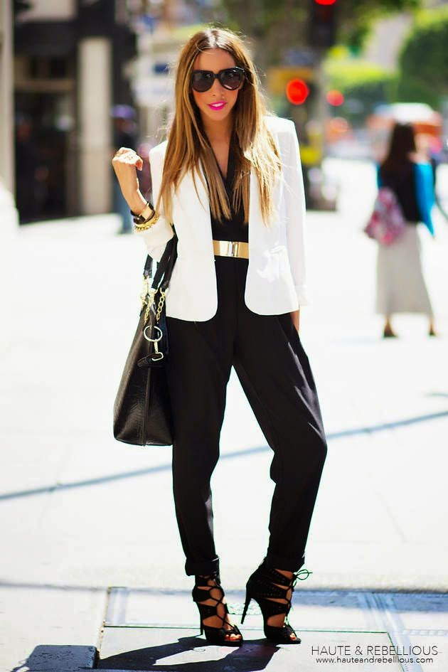 Wearing a White Summer Blazer with Black Halter Jumpsuit