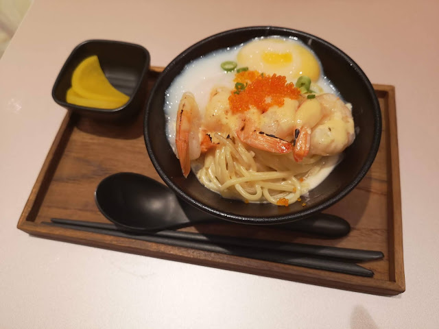 Golden Red Miso Prawn Pasta