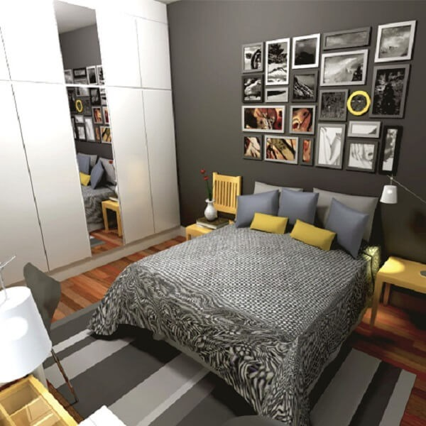 Decoration of a double room with a photo frame