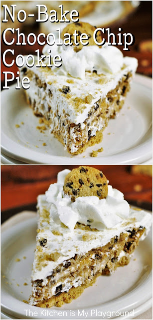 SUPER Easy No-Bake Chocolate Chip Cookie Pie ~ Four simple ingredients come together to create one delicious no-bake pie. Chocolate Chip Cookie Pie is soooo good, and you truly won't believe how easy it is!  www.thekitchenismyplayground.com