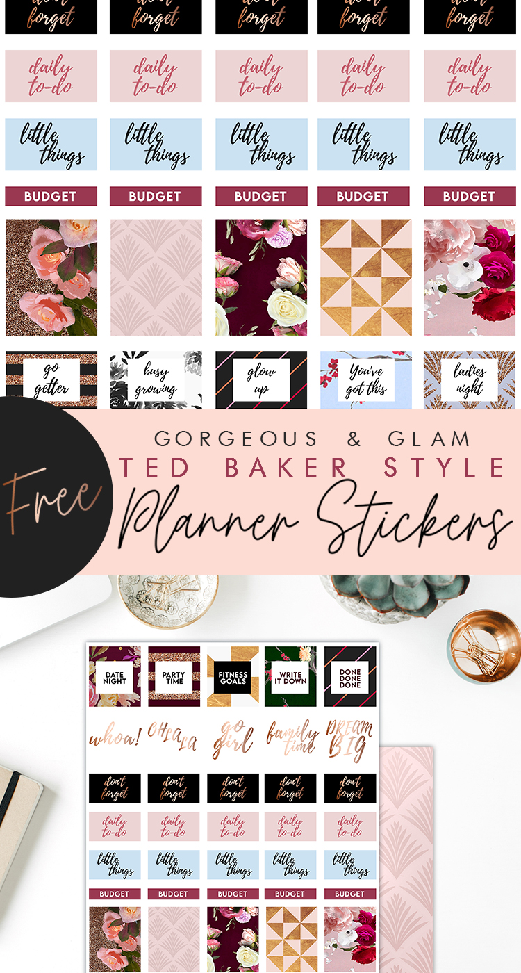 Free Printable Ted Baker inspired Planner Stickers for the Bosslady | Feminine Planner Printables by Craft A Doodle Doo. Luxurious, Glamorous and Chic, these stickers are perfect for the stylish planner #blushandgoldprintables #tedbaker #tedbakerstyle #freeplannerprintables #scrapbookingembellishments