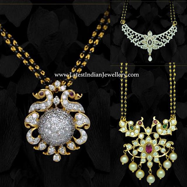 3 Style Diamond Pendants Mangalsutra