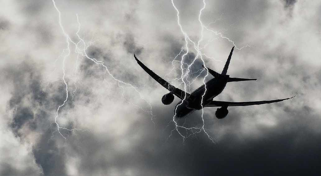 Celestial Lightening Hits Airplane