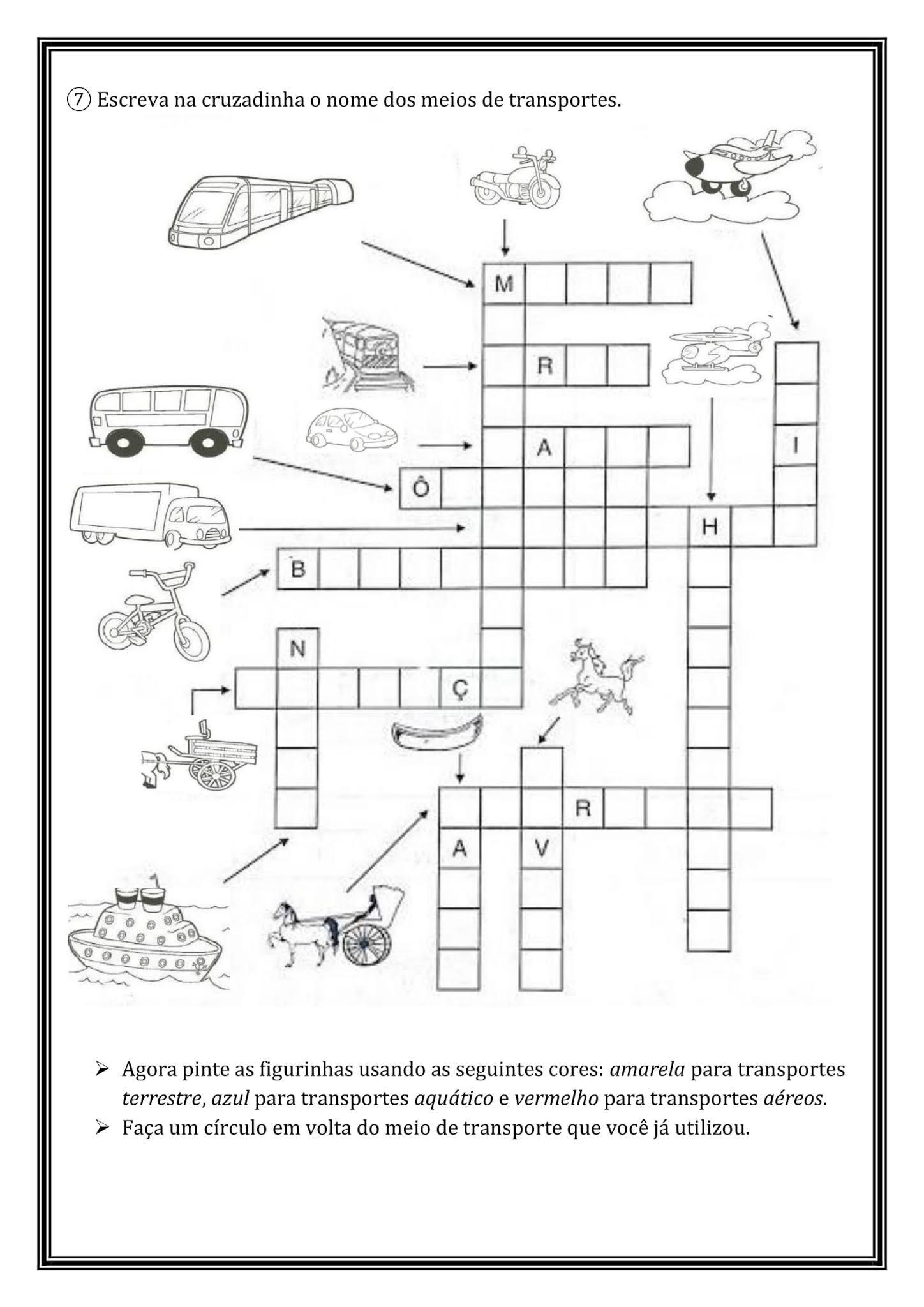 Atividade Geografia: Meios de transporte (2º ano) - Ensino Fundamental