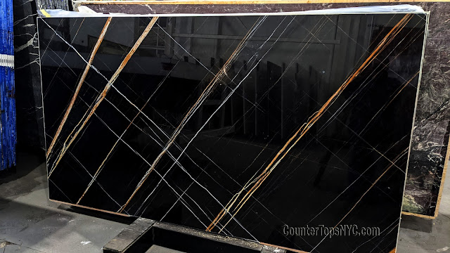 African St. Laurent Black Marble Stone Slabs NYC