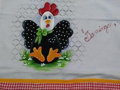 pintura em tecido estilo country galinha com laço
