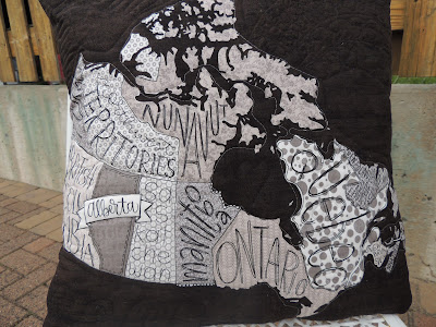 quilted Canadian map panel cushion cover