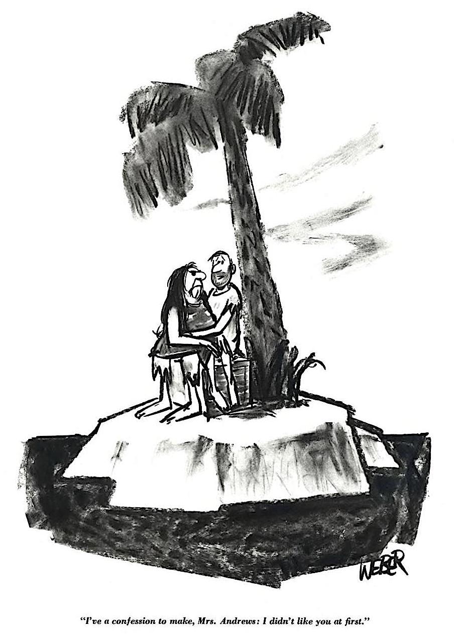 a Weber cartoon 1965, a desert island cartoon for a men's magazine