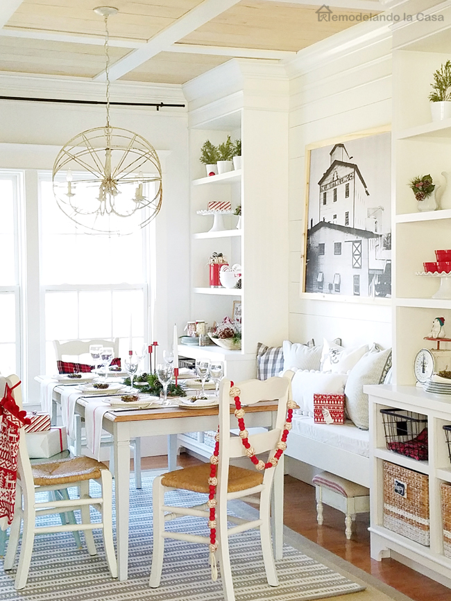 Dining Room Decorated For Christmas With Red White And Wooden Tones Simple Holiday Decor