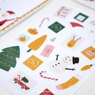 cartela adesivos selos natalinos natal papai noel
