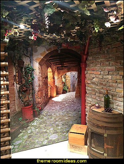 Cobblestone Passage, Tuscany Mural  Tuscany Vineyard Style decorating - Tuscan Wall mural stickers - Tuscan themed kitchen accessories - grape decor - Tuscan theme decor - Wine barrel decor - rustic decor - Venice Italy decorating ideas - Italian Cafe - Old World furniture - luxury bedding - tuscan themed bedroom decor