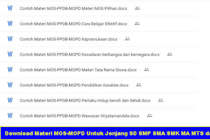 Download Materi MOS-MOPD Untuk Jenjang SD SMP SMA SMK MA MTS dan MI