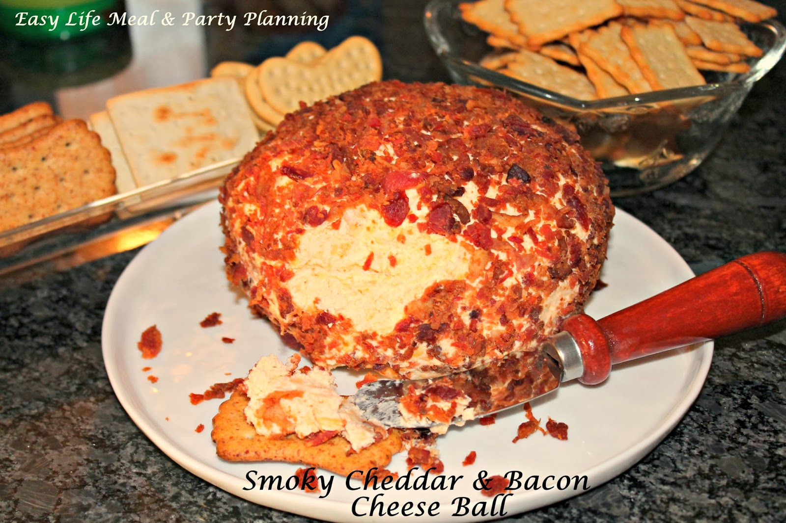 Smoky Cheddar & Bacon Cheese Ball - Easy Life Meal & Party Planning -Who could possibly resist smoky cheddar cheese and bacon!! This has an incredible taste and is extremely easy to make