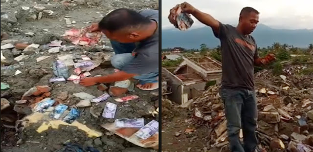 Harta Karun Berupa Uang dan Motor Ditemukan di Bekas Gempa Petobo