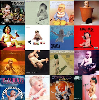 A composite image of 16 music album covers featuring babies.