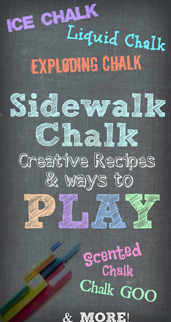 32 SIDEWALK CHALK IDEAS FOR KIDS (Recipes, projects, experiments, & more!) #playrecipesforkids #sidewalkchalkart #sidewalkchalk #sidewalkchalkideas  #chalkpaint #artsandcraftsforkids