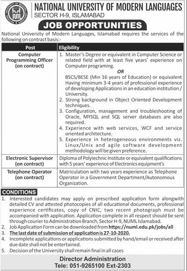 National University of Modern Languages NUML Job Advertisement in Pakistan Jobs 2020 - 2021 - Online Apply - www.numl.edu.pk
