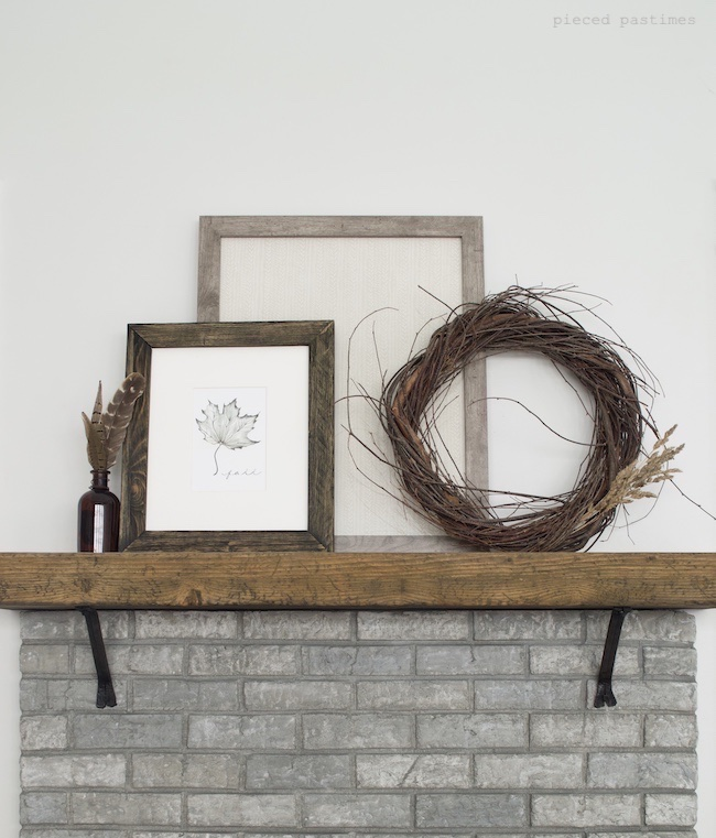 Minimalist Fall Mantel, Simple Fall Mantel at Pieced Pastimes