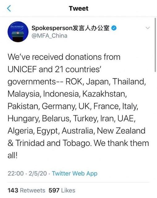 """Bất chấp VN viện trợ nửa triệu USD, Bộ Ngoại giao TQ cảm ơn các nước nhưng """"quên"""" Việt Nam?"""