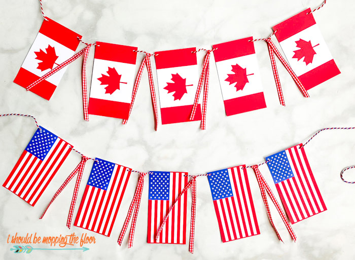 Canadian and American Flag Banners