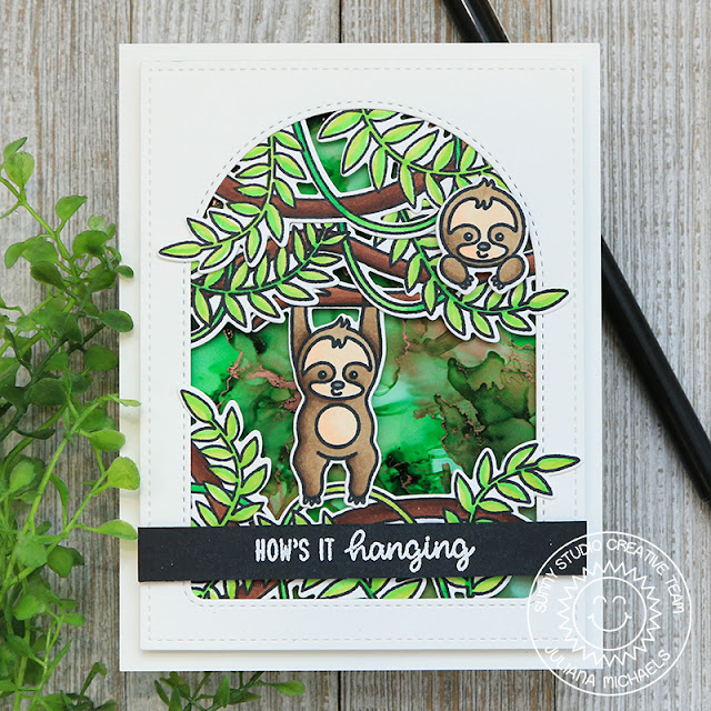 Sunny Studio Stamps: Stitched Arch Dies Frilly Frame Dies Silly Sloths Tropical Scenes Everyday card by Juliana Michaels